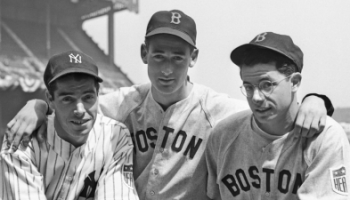 Photo of Joe DiMaggio, Ted Williams and Dominic DiMaggio