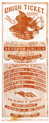 Absentee paper ballot, introduced for enlisted Civil War troops, 1864. Courtesy of California State Archives.