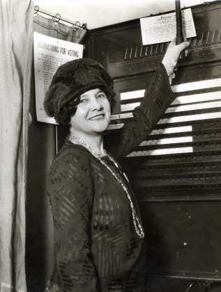 Mechanical lever voting machine, circa 1920s.Courtesy of San Francisco History Center/San Francisco Public Library.