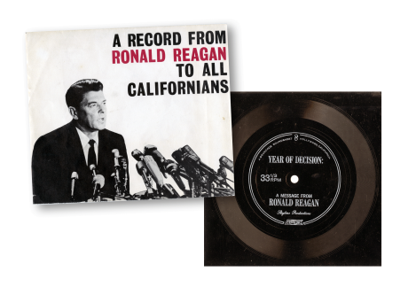 """A record from Ronald Reagan to all Californians,"" 1968. Courtesy of California State Archives."
