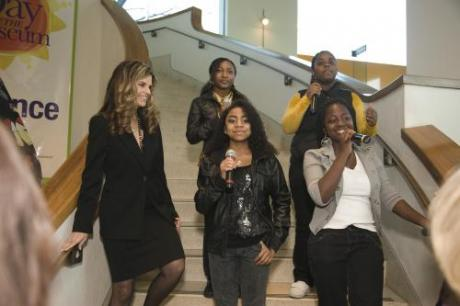 Maria Shriver and youth group