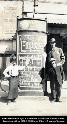 Alex Kaiser, manager of K Street's Empress Theater, with vaudeville actor Frederick Kempster circa 1909. © 2013 Eames Office LLC (eamesoffice.com)