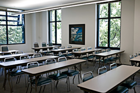 Classroom arrangement with padded chairs