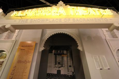 "California's golden film age is highlighted in the permanent installation, ""The Alhambra Theater,"" which includes artifacts from the original Sacramento movie palace. © 2015 California Museum. All rights reserved."