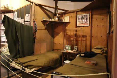 "Reproduction of a barrack inside of the Museum's ""Uprooted! Japanese Americans During WWII"" exhibit. © 2015 California Museum. All rights reserved."