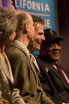 Peter Salk (sone of Jonas Salk), Patrick Wayne (son of John Wayne), and Willie Mays CAHoF 2007 Induction Ceremony