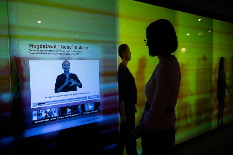 Amanda Meeker, exhibits and programs director at the California Museum, shows the 4,000-square-foot multimedia California Unity Center on Thursday in Sacramento. Andrew Seng aseng@sacbee.com
