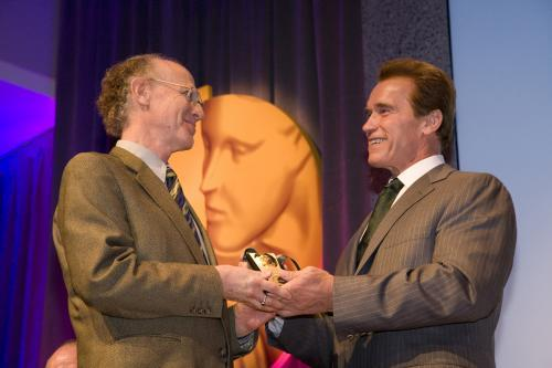 Peter Salk accepts Spirit of California Award from Gov for father Jonas Salk