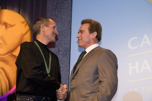 Steve Jobs accepts Spirit of California Medal from Governor CAHoF 2007 Induction Ceremony