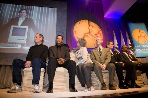 Steve Jobs, Tiger Woods, Rita Moreno, Peter Salk, Patrick Wayne and Willie Mays CAHoF 2007 Induction Ceremony