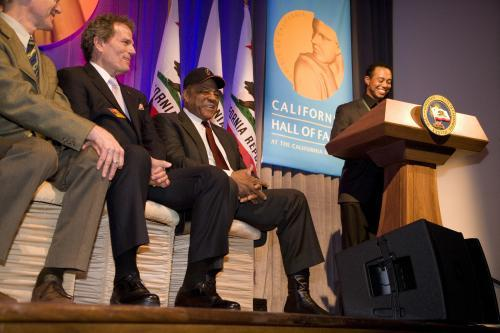 Tiger Woods reads citation, Patrick Wayne and Willie Mays on left CAHoF 2007 Induction Ceremony