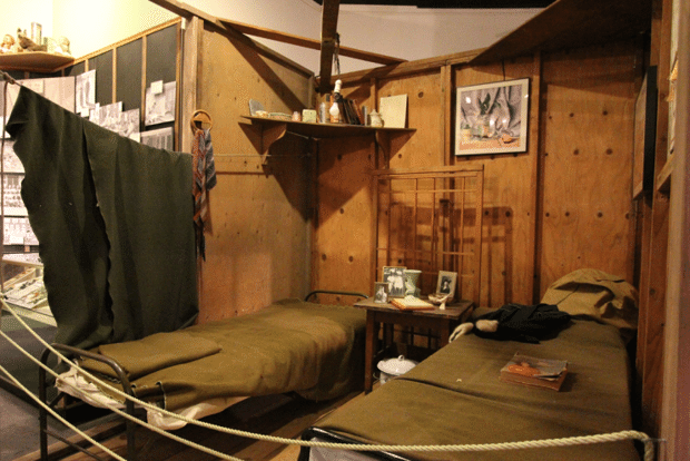 "A reproduction of barracks in the ""Uprooted! Japanese Americans During WWII"" exhibit. (Courtesy California Museum)"