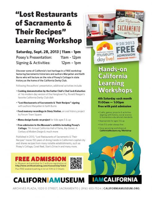 "Image of Free ""Lost Restaurants Of Sacramento"" Workshop"