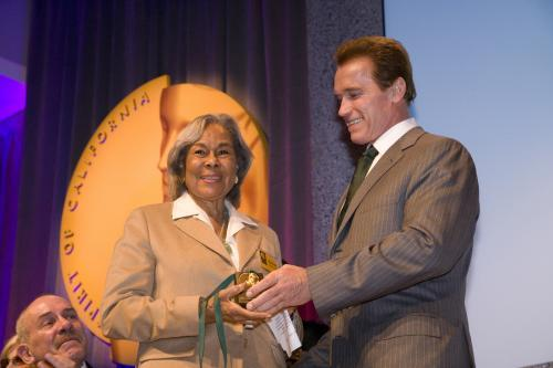 Gov Schwarzenegger with Rachel Robinson (wife of Jackie Robinson)
