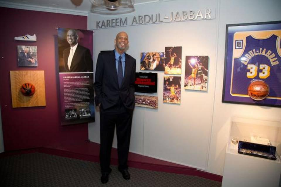 Basketball legend Kareem Abdul-Jabbar poses with his Hall of Fame exhibit at the California Museum.PETER A. WILLIAMS/CALIFORNIA MUSEUM