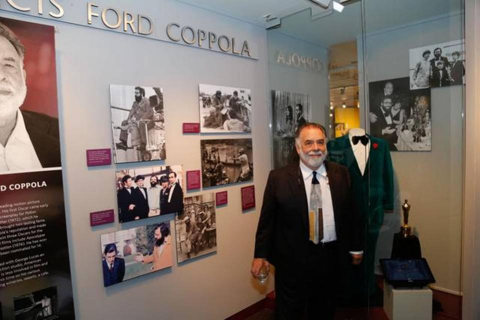Francis Ford Coppola appears in front of his Hall of Fame exhibit. The emerald green tuxedo he wore to the Oscars in 1973 is behind him.PETER A. WILLIAMS/CALIFORNIA MUSEUM