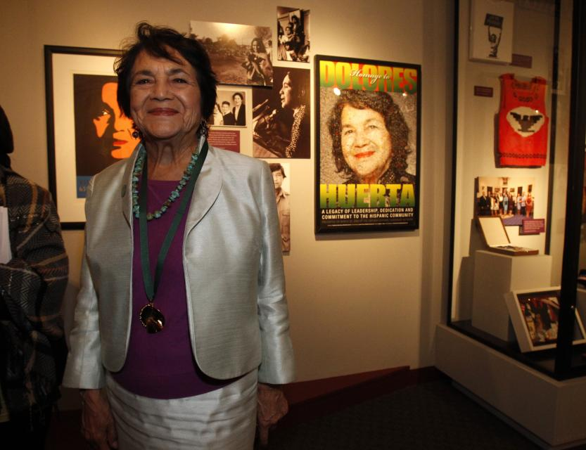 REUTERS/Mario Anzuoni - Inductee Dolores Huerta in her the 7th Annual CA Hall of Fame exhibit on 3/20/13.