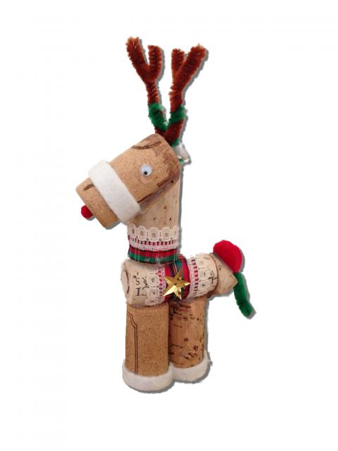 Reindeer ornament made from recycled California wine bottle corks.