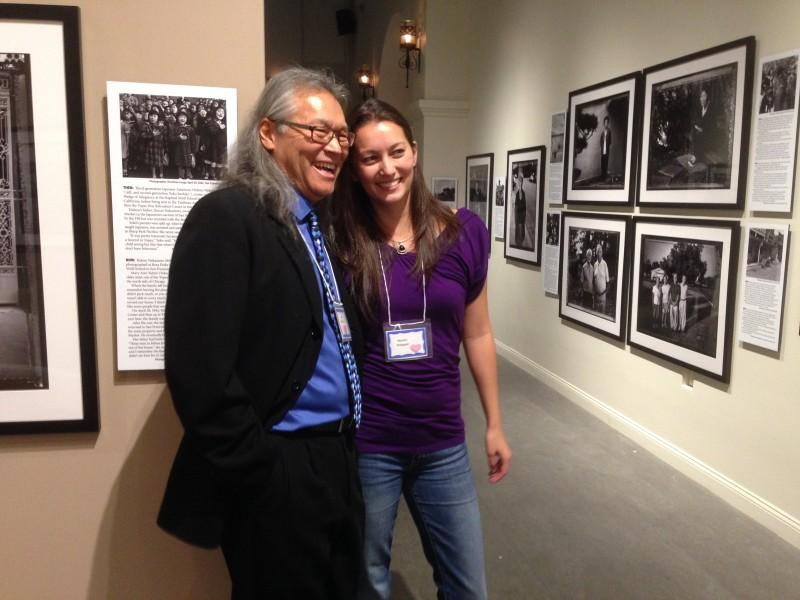 Paul Kitagaki Jr. and his daughter, Naomi Kitagaki, at his exhibition at the California Museum in Sacramento. (Patricia Yollin/KQED)