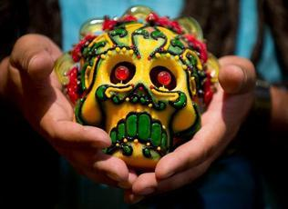 Artist Rob-O's sugar skulls were the product of an effort to honor his mother after her death in 2007. (Photo by Hector Amezcua / hamezcua@sacbee.com)