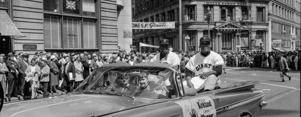 "Photo of ""Welcome Giants"" 1958 ticker tape parade"