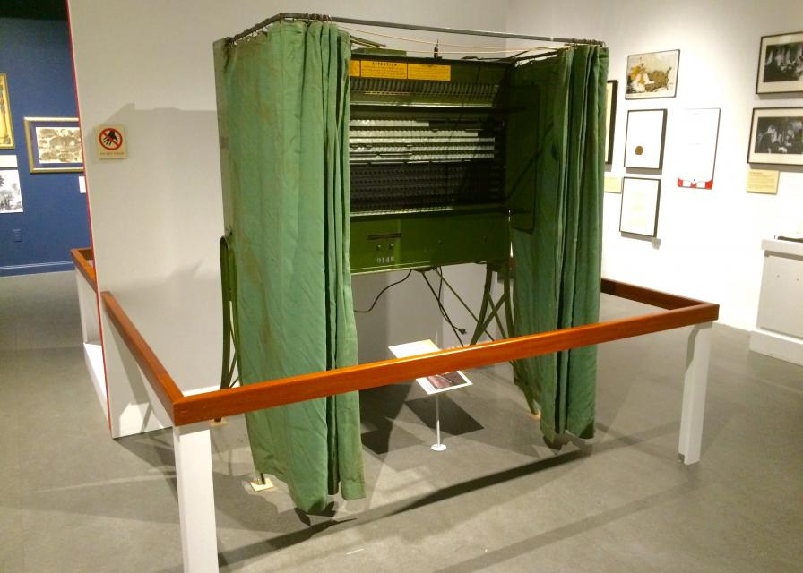 THEN…Voters in San Francisco voted in lever voting machines like this one for over 70 years. This booth is on display at The California Museum in Sacramento. Photo by Susan Laird