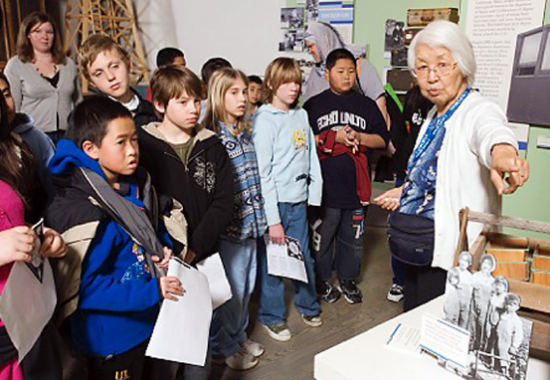 Joanne Ono Iritani leads a Time of Remembrance presentation for students at the California Museum in Sacramento.