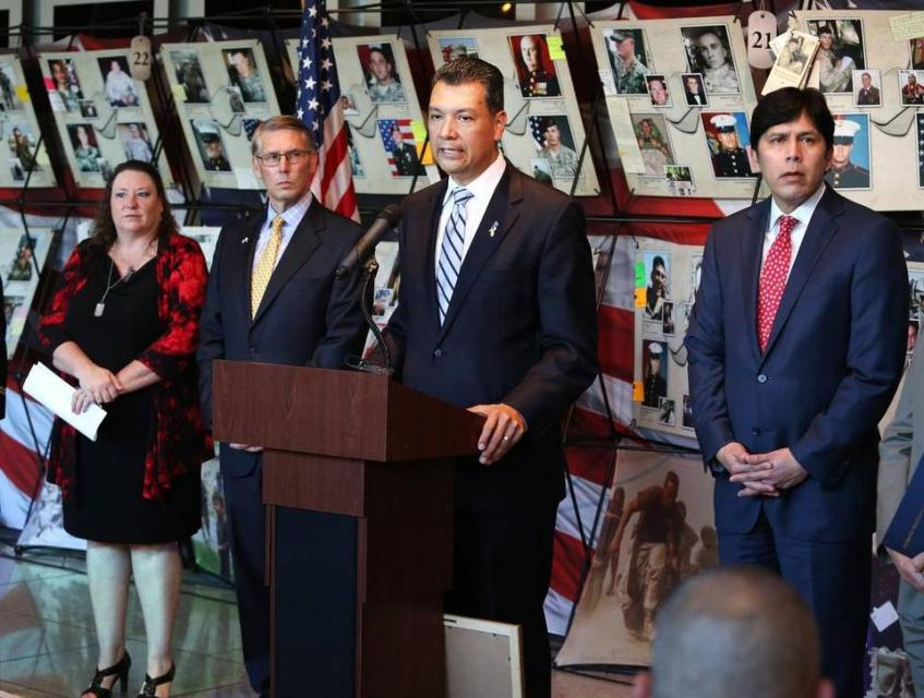 "California Secretary of State, Alex Padilla, speaks during the ceremony ""Remembering Our Fallen from California"" to honored the state's troops who have died in Iraq and Afghanistan. Padilla is joined by Tracey Vazquez, mother of Specialist Manuel Vazquez killed in action; Richard S. Costigan III of The Calif. Museum, and Senator Pro Tem Kevin De Leon at the California Museum in Sacramento on April 11, 2016. HÉCTOR NAVEJAS hnavejas@vidaenelvalle.com"